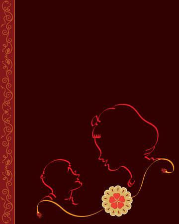 tied girl: Raksha Bandhan Vector Art Illustration