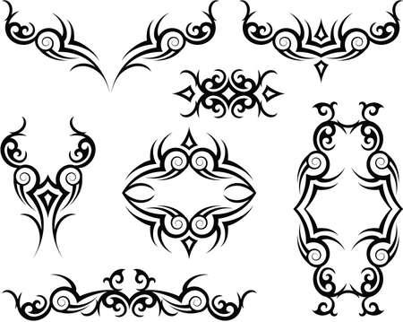 arm: Art Tattoo Arm Band Set Vector Vettoriali