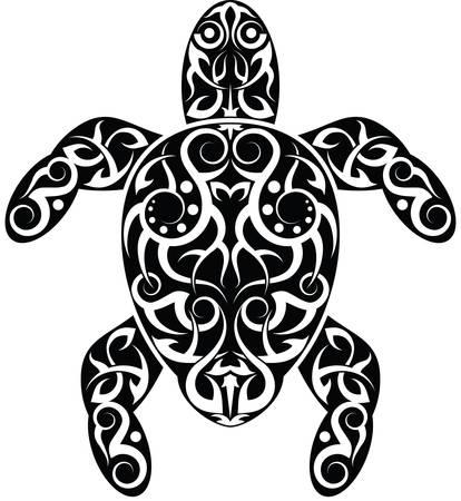 Tattoo Turtle Design Vector Art Vector