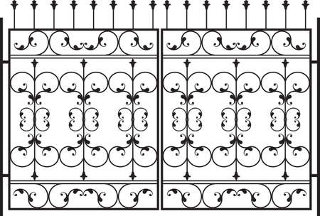wrought iron: Cancello in ferro battuto, porta, recinto, finestra, Grill, Parapetto Art Vector Design Vettoriali