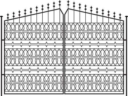 puertas de hierro: Puerta de hierro forjado, puerta, valla, ventana, Grill, Arte Baranda Dise�o vectorial