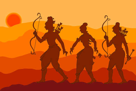 sita: Shadow Art, Rama, Sita, Laxman Vector Art Illustration
