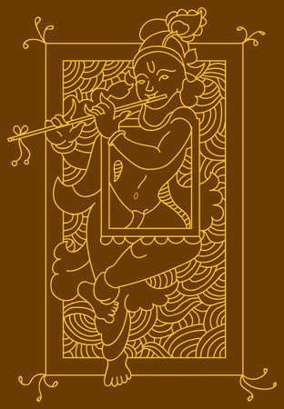asian and indian ethnicities: Calligraphic Lord Krishna Vector Art