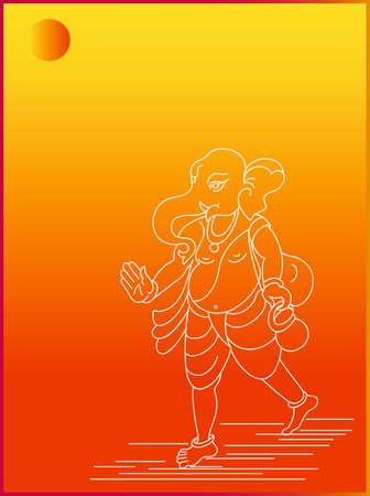 indian god: Ganesha The Lord Of Wisdom Vector Art Illustration