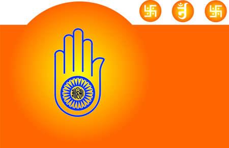 ahimsa: Jain Emblem, Flag, Swastica Vector Art