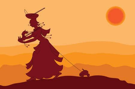 影のアート、村の女性おもちゃ売り再生・販売音楽器械 (Ek タラ) バイオリンのようなベクトル アート