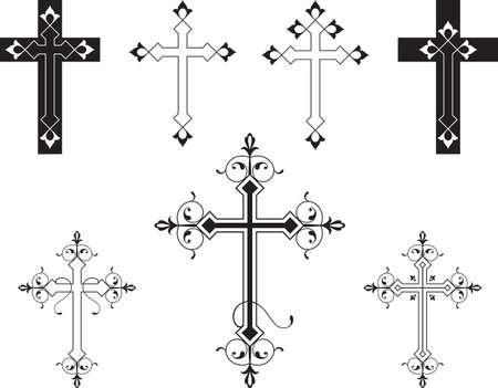 simbolos religiosos: Arte cruzado cristiano de diseño vectorial