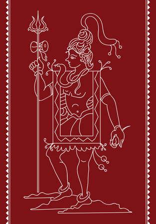 hindu god: Arte Shiva El dios hind� Vector Vectores