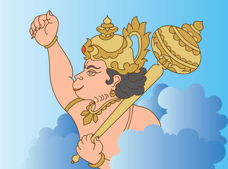 ramayana: Hanuman The Hindu Ape (Monkey) God Vector Art Illustration