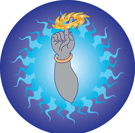 little finger: Krishna Holding Sudranshan Chakra In His Little Finger Vector Art