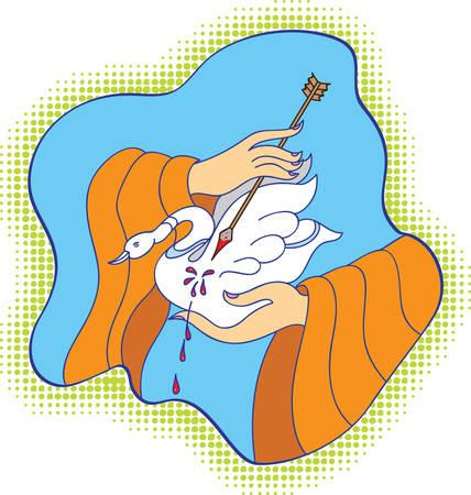 tornitura: Buddha (Siddhartha Gautama) Saving The Bird, che � il punto di svolta della sua vita Vector Art