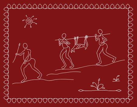 hunters: Folk Hunters, Tribal Design, Motif, Wall Painting Vector Art