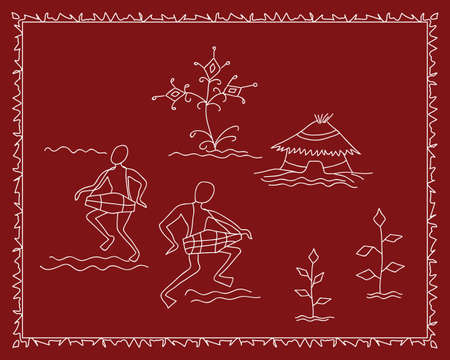 Folk Dancers Tribal Design, Motif, Wall Painting Vector Art Vector