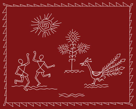 Folk Dancers Tribal Design, Motif, Wall Painting Vector Art Vector