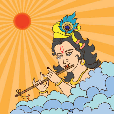 Calligraphic Lord Krishna Vector Art Vector