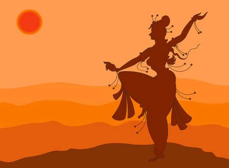 namaskar: Shadow Art Dancer Doing Surya Namaskar Vector Art