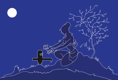 shivling: Lady Doing Pooja Of Shivling Vector Art