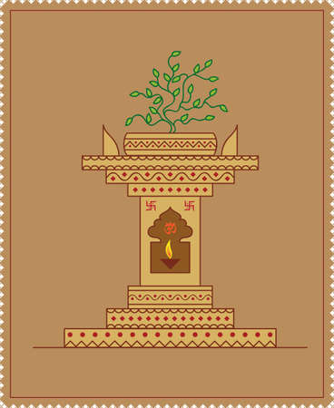 worshiping: Holy Tulsi Choura Vector Art