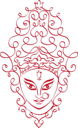 kali: Durga Goddess of Power Vector Art Illustration