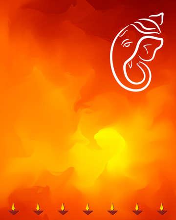 an oil lamp: Ganesha El Señor de Sabiduría Arte Vectorial