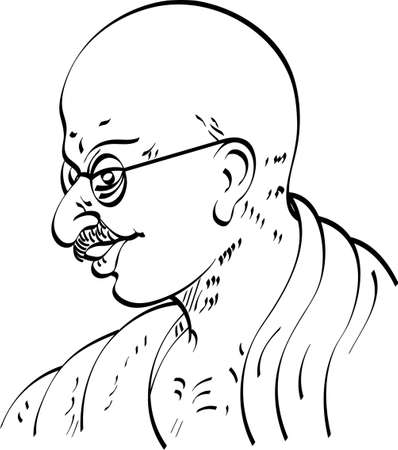 nonviolence: Calligraphic Mahatma Gandhi Ji, Political And Spiritual Leader Of India Vector Art Illustration