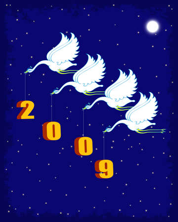 two thousand: Bird Delivering Two Thousand Nine New Year Vector Art Illustration