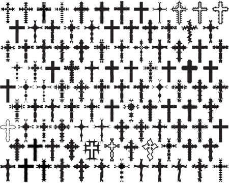 stock clip art icon: Christian Cross Collection Vector Art
