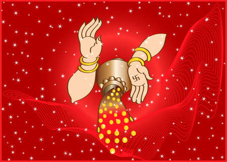 Wealth Goddess Laxmi Giving Wealth, Gold Coins, Blessings Vector Art
