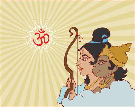 rama: Lord Rama With Hanuman Ape (Monkey) God Vector Art