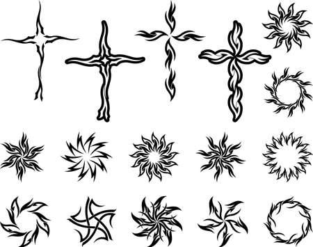 Tattoo Cross Sun Collection Vector Art Vector