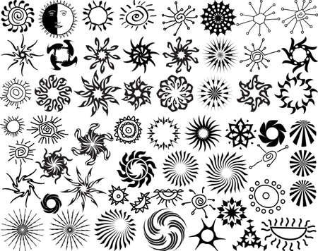 illustrazione sole: Tattoo Sun, Fiamma Tribal Art Design Collection Vector