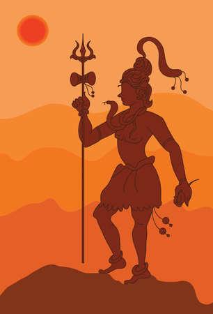 hindu god: Arte de la sombra, El dios hind� Shiva arte vectorial Vectores