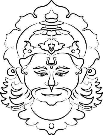 ramayan: Hanuman The Hindu Ape (Monkey) God Vector Art Illustration