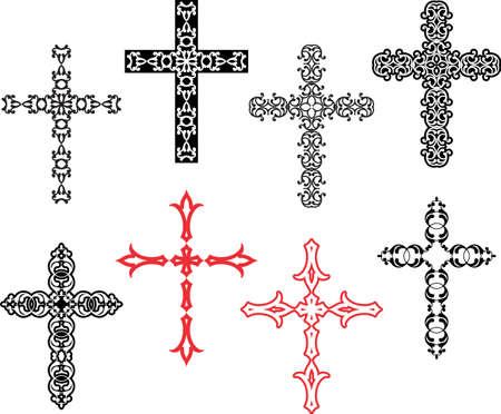 simbolos religiosos: Arte Dise�o cruzado cristiano Vector