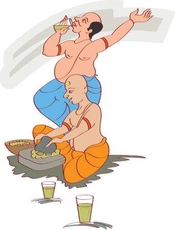 parvati: Shivrati Bhang Ghotu Panda Vector Art Illustration