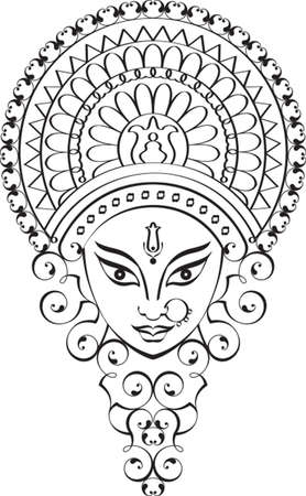Durga Goddess of Power Vector Art  イラスト・ベクター素材