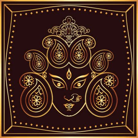 indian animal: Durga Goddess of Power Vector Art Illustration