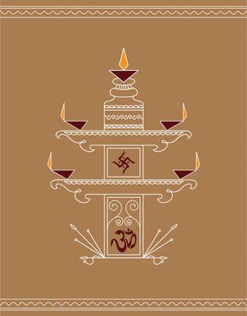 deepak: Folk Design Diwali Vector Art