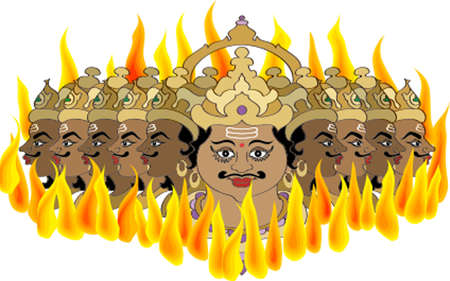 ramayan: Ravana Burning In Fire Vector Art