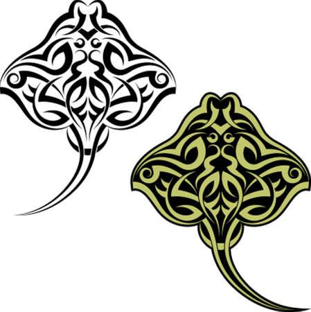 Tattoo Stingray Design Vector Art