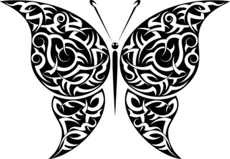 Tattoo Butterfly Design Vector Art Vector