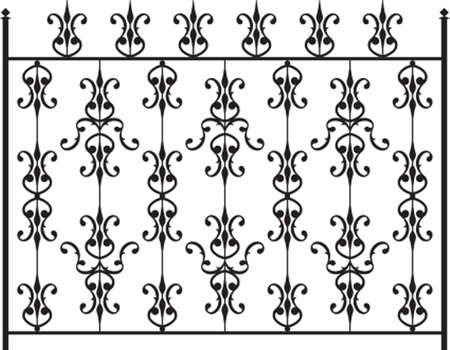 Wrought Iron Gate, Door, Fence, Window, Grill, Railing Design Vector Art