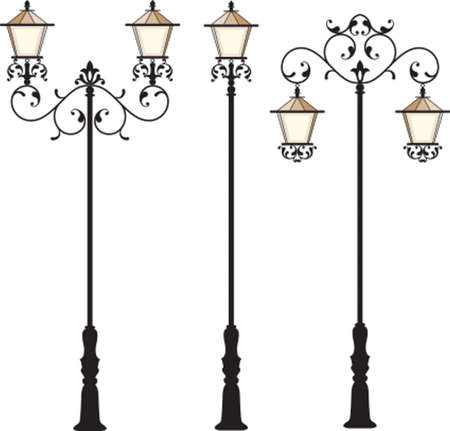 cast iron: Wrought Iron Street Lamp Post Vector Art
