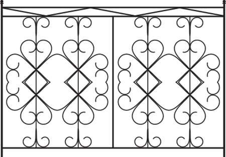 Puerta de hierro forjado, puerta, valla, ventana, Grill, Arte Baranda Diseño vectorial