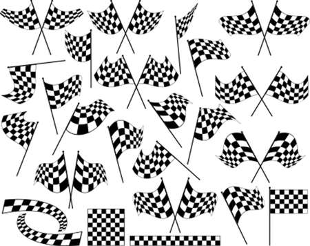 stock car: Race Flag Various Designs, Vinyl Ready Vector Art