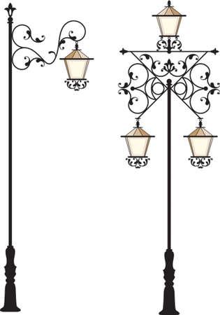 Wrought Iron Street Lamp Post Vector Art