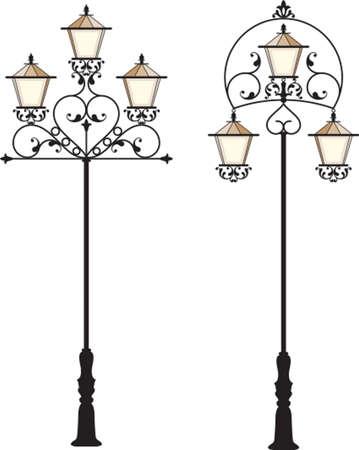Wrought Iron Street Lamp Post Vector Art Vector