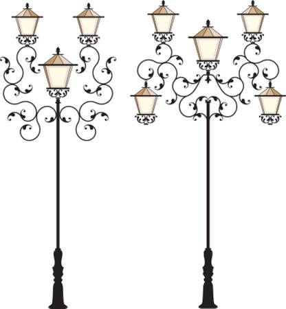 уличный фонарь: Кованые Street Lamp Post векторные изображения Иллюстрация