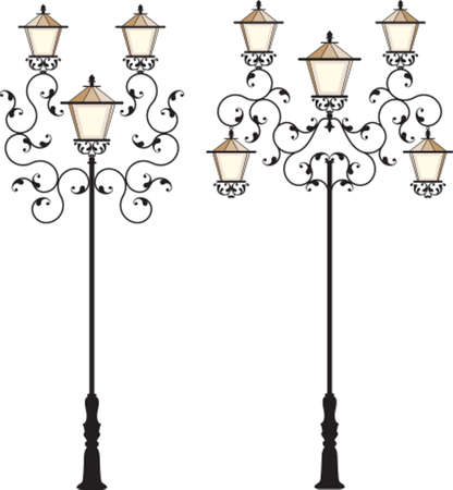 wrought iron: Arte Ferro Battuto via Lampione Vector Vettoriali