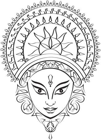 Durga Goddess of Power Vector Art Иллюстрация